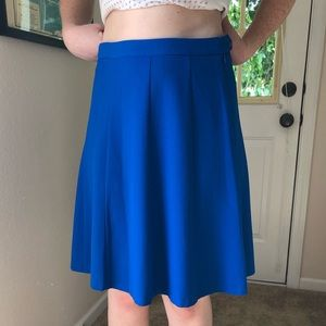 Bright blue statement skirt
